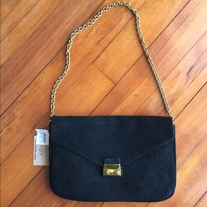 J. Crew Black Suede Clutch